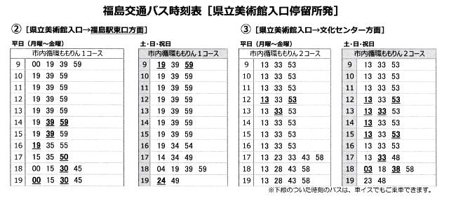 福島交通の美術館入口バス時刻表