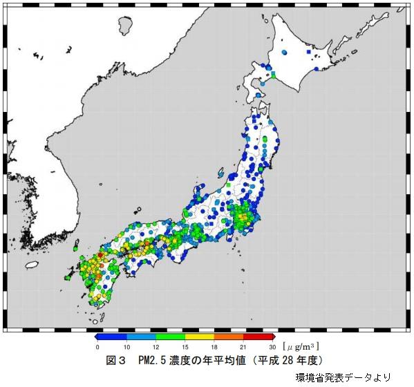 PM2.5が多い地域・都道府県