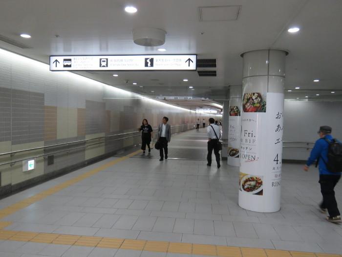 仙台駅2階から地下道→シャトルバス乗場へ7