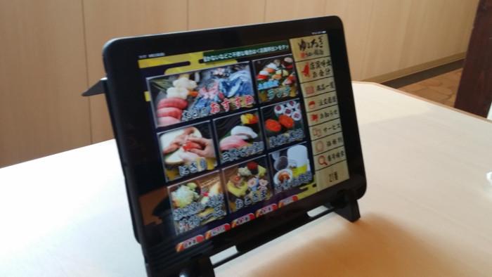 鮨勘ゆとろぎ長町郡山店の注文用タブレット(タッチパネル)
